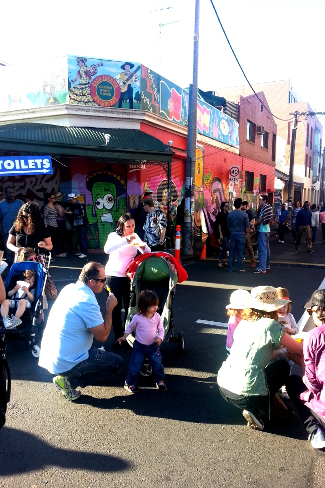 Families at the Spanish Festival on Johnston Street in Melbourne, 2013