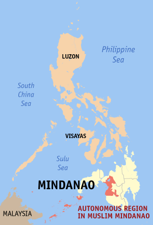 Map of the Autonomous Region of Muslim Mindanao Philippines