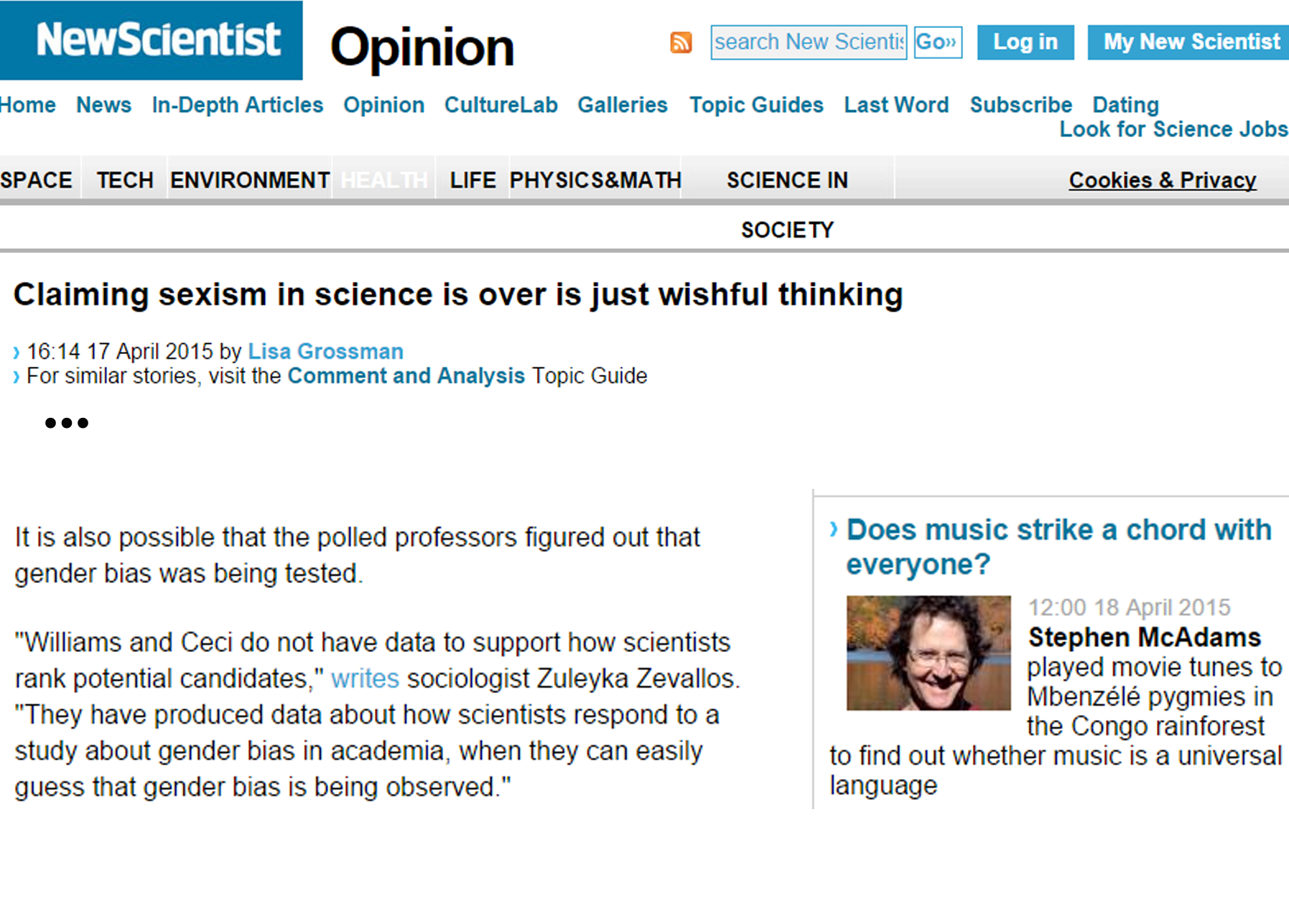 New Scientist Claiming sexism in science is over is just wishful thinking