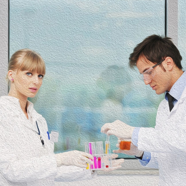 Man and woman scientists hold test tubes