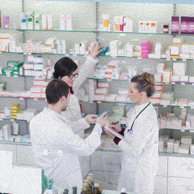 Two women and one man in a pharmacy