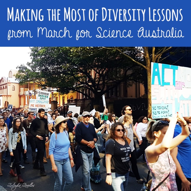 March for Science protesters at Martins Place, Sydney