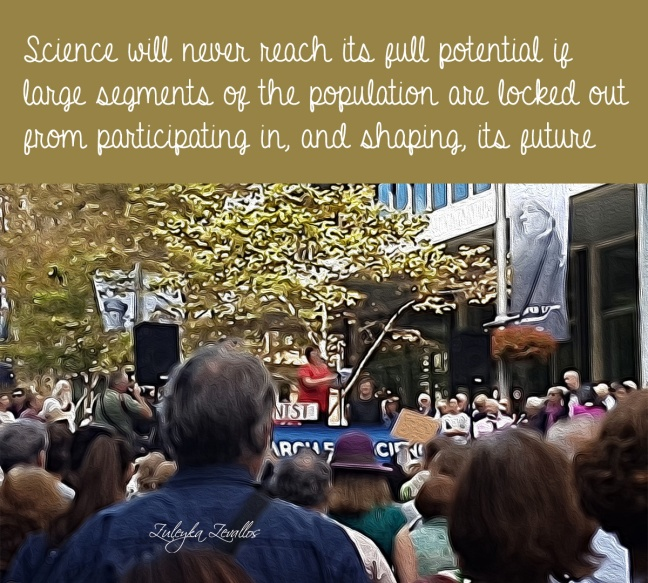 Crowd listens to speeches at the March for Science in Sydney