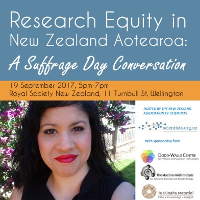 Title of event on top banner against blue background reads: Research Equity in New Zealand Aotearoa. Smaller yellow banner with time and address details. Lower half shows large photo of Zuleyka Zevallos on the left and logos of hosts The NZ Association of Scientists, and logos of sponsors: Dodd-Walls Centre; The MacDiarmid Institute; Te Punaha Matatini