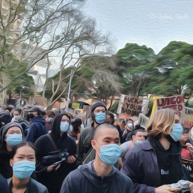Oil painting image of protesters at a Black Lives Matter Protest in Sydney. They are wearing surgical masks during the COVID-19 pandemic